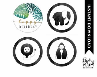 Jungle Cupcake toppers / Safari Round Labels / Jungle Round Labels / Safari Cupcake Toppers / Wild One Zoo Boy Green Gold Printable SF04
