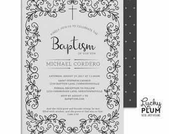Baptism Invitation / Boy Baptism Invitation / Christening Invitation / First Communion Invitation / Deer Tree Ring Forest Woodland