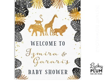 Safari Baby Shower Sign / Jungle Welcome Sign / Black Gold Animal Boho Baby Wishes / Wild One Zoo / *Digital Printable SF02