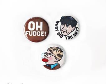 "Oh Fudge Pinback Button Set: 1"""