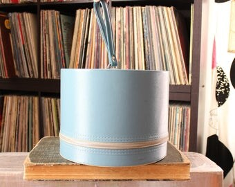 slate blue vintage wig box, round train case luggage . 1970s zipper case hat box