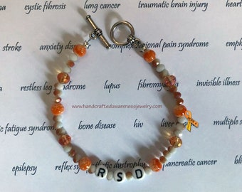 RSD Awareness Bracelet, Orange Ribbon Awareness Bracelet, Orange Crystal Beaded Bracelet, Awareness Bracelet