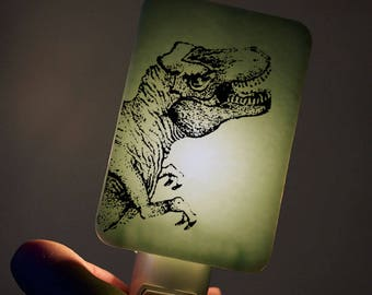 Tyrannosaurus Rex Nightlight on Willow Green T-rex dinosaur Fused Glass Night Light - Gift for boy child kid - prehistoric jurassic Dino