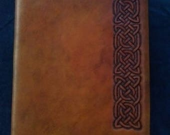 Celtic Leather Journal Pict Border Knot on Saddle Tan Six links