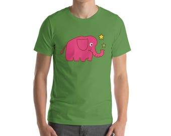 Pink Elephant with Stars T-Shirt Birthday Gift Wife Daughter Best Friend Present