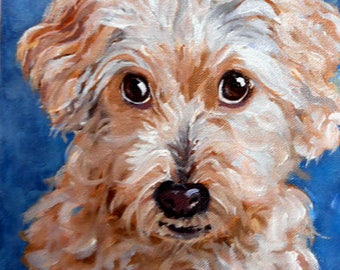 Pet Portrait Painting, Custom Fine Art Oils on Canvas Dog Portrait Animal Art