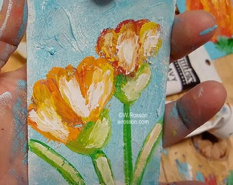 Floral Painting, Garden, Flower Garden, Original Painting, Tulips, Flower Painting, Winjimir, Art Card, ACEO, Miniature Painting, Gift,