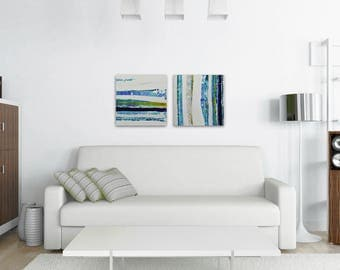 "TW0 Abstract Paintings ""Aqua 05 + Aqua 07"" by Lisa Carney, Modern Art, Minimalist Painting, Stripes, Geometric, Contemporary, Diptych, Pair"