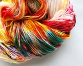 HARVEST MOON hand dyed yarn, speckle merino wool sock yarn. white red yellow orange green multicolor, fingering 2 ply, fall autumn shades