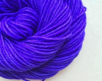 DEEP VIOLET hand dyed yarn fingering sock dk bulky yarn super wash merino wool yarn single or ply. choose your base. dark violet purple yarn
