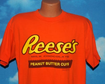 Reese's Peanut Butter Cups Large Orange Tshirt Vintage 1990s
