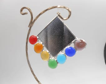 Mirrored Suncatcher/ Vanity Mirror with colorful glass gems L2R Chakra Rainbow