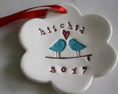 Christmas Ornaments Handmade, Our First Christmas Ornament, Wedding Gifts for Couple, Housewarming Holiday Gift,  Love Birds Hitched