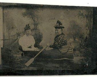 Tintype prop boat women in comic pose Victorian vintage photo