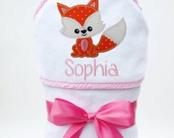 Fox Baby Girl Towel, Fox Baby Gift, Personalized Baby Towel, Monogrammed Bath Towel, Fox Baby Shower, Baby Girl, Toddler Girl Towel