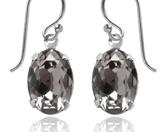 Swarovski Crystal Oval Drop Earrings Sterling Silver Black Diamond – CHOICE OF COLOURS