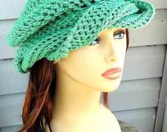 Slouchy Beanie Hat Cotton Hat Summer Hat, Crochet Hat Womens Hat Trendy, Cotton Beanie Summer Beanie Slouchy Hat Samantha Apple Green Hat