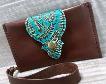 Leather Wallet fits Passport/ Phone with Wrist Strap & Zipper Pocket, Medium Brown / Fern Print, * SALE * Coupon Codes