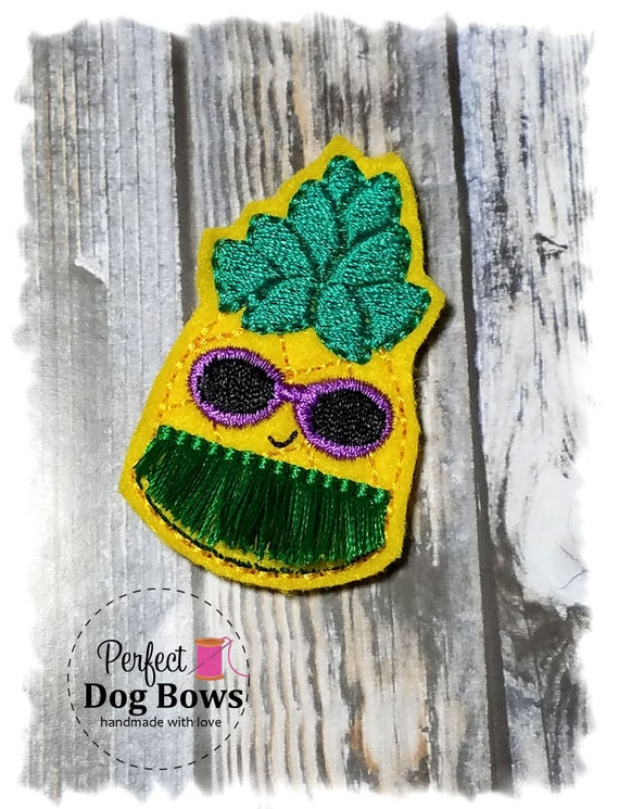 Dog Bow, Kawaii Pineapple with Hula Skirt, Purple Sunglasses, Pet Hair Bow, Small Dog Bows, Hawaii Aloha, Summer Dog Hair Bow