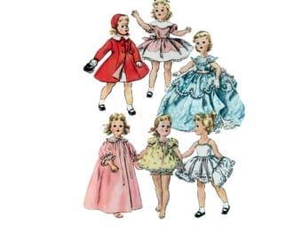 22 inch uncut Doll Clothes pattern Sweet Sue Doll Dress pattern Doll Bonnet pattern vintage Simplicity 1336