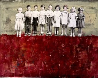painting  portrait vintage children school days mixed media heather murray