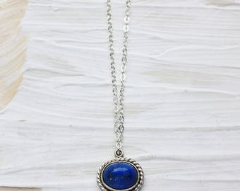 Lapis necklace, blue stone pendant, sterling silver necklace, blue jewelry, lapis lazuli necklace, small everyday necklace, gift wife