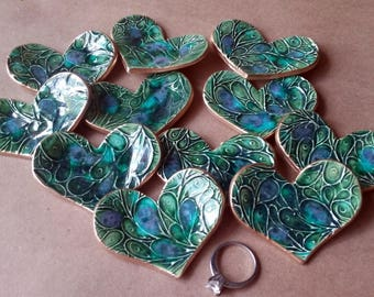 TEN Ceramic Heart ring bowls Bridesmaid shower Baby shower itty bittys Peacock Green edged in gold
