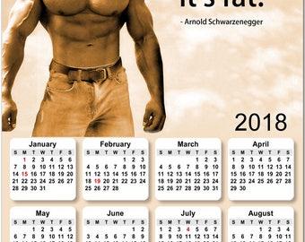 "Arnold Schwarzenegger 2018 Full Year View 8"" Calendar - Magnet or Wall #3826"
