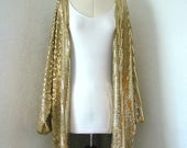 LONG gold kimono, Kimono Jacket, gold, sparkly, summer, sequin, rave fashion, clubbing, party, christmas, medium, festival, new year, disco