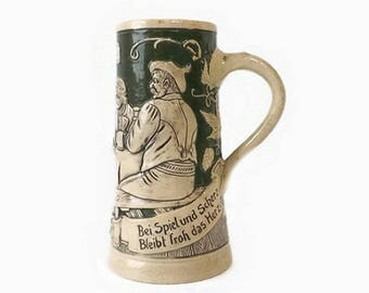 Vintage German Stein Mug, Beer Collectible, Green & Beige, Oktoberfest Display, Gift for Him