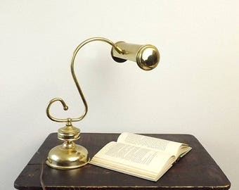 HEYCO Brass Desk Lamp, Vintage Student Banker Piano or Table Lamp, Mid Century Home Lighting