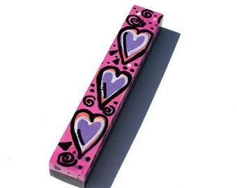 Pink Mezuzah Holder - Jewish Gift for Bat Mitzvah, Baby Naming, or Wedding - Handpainted Judaica - Wood Mezuzah Case by Claudine Intner