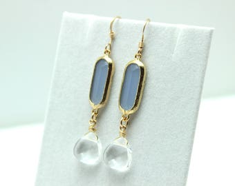 Blue Chalcedony & Crystal Earrings Light Baby Periwinkle Clear Faceted 14k Gold Fill Soft Feminine Teardrop Long Dangle Wedding White Lilac