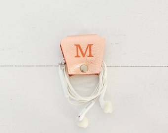 Personalized Rose Gold Leather Earbud Holder | Custom Initial Cord Wrap Earphone Headphone Organizer| Cord Keeper Bridesmaid Gift for Her