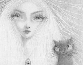 Lover's Eye Art, black cat print, big eyes art, big eye girl, black cat art, black cat drawing, pop surrealism cat, witch art, wicca art