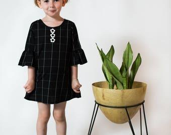 ruffle sleeve b&w grid dress baby toddler girls Supayana