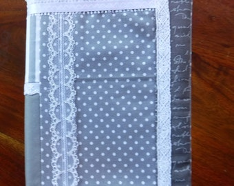 Patchwork Book Cover, Reading, Victorian Inspired, Large Hardback Cover, Cotton Fabric Book Sleeve, Mothers Day, Bookworm Gift, Gray White
