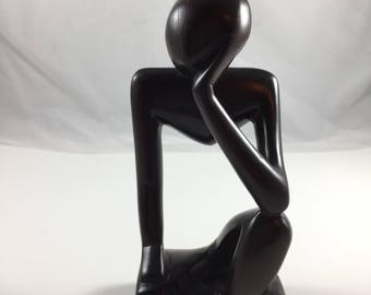 African Wood Carving Statue Thinking Man Art Ghana West Africa Sandoodles