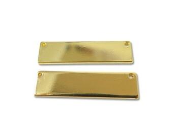 Gold Plated Engravable Rectangle Pendants - (4x) (K619-C)