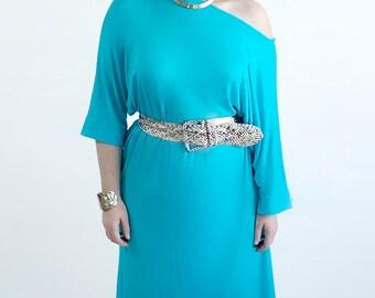 SALE 40%OFF! Turquoise Knit T-shirt dress. Size L-XXL