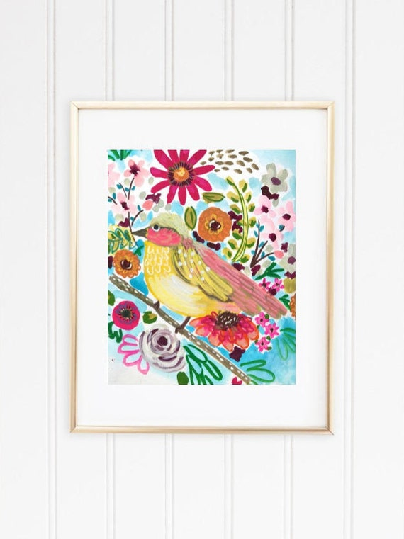 PRINTABLE Pretty Watercolor Yellow Bird and Flowers *INSTANT DOWNLOAD*