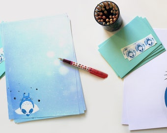 Totoro fanart - large size writing paper set with envelopes and assorted stickers