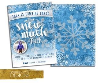 Snowflake Birthday Invitation with Photo - Winter Birthday Invitation - Winter Wonderland Birthday Invitation - Snow Birthday Invite