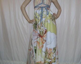 Fairy Maxi Dress Morning Glory Fae Fairies Marble Fabric  Peach Gray Hippie OOAK Long Maternity Summer Cruise Resort Maxi Dress Adult M L XL