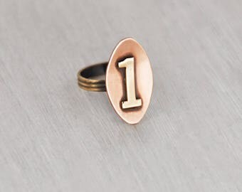 Vintage Number One Ring - solid copper brass numeral numero uno # 1 oval face - adjustable size 6 to 7.5
