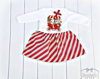 SALE Christmas Dress Girl - Snowman Dress Infant - Peppermint Candy Dress - 6-12 month Christmas Dress - SALE Baby Dress 6 m - Ready to Ship