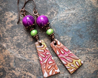 Berries & Lime . Artisan made earrings. Colorful boho earrings. Handmade beads, antiqued solid copper. Polymer clay handmade beads.