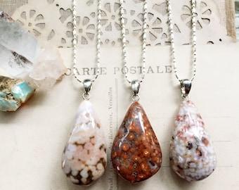 N a t u r e...Ocean jasper necklace, boho, Base Chakra, healing, minimalist, earthy, stainless steel, layering necklace FREE SHIPPING