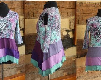 Womens Bohemian Tunic, Upcycled Clothing, Shabby Chic, Split Sleeve Top, Lagenlook Style, Boho Chic Clothing, Mori Girl, Hippie Clothing