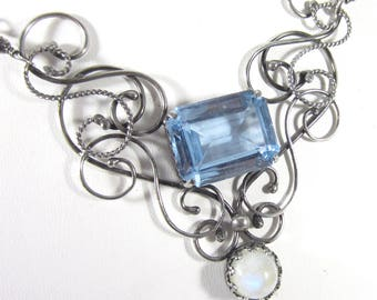 Smoke and Ice Necklace - Gorgeous Blue Spinel and Rainbow Moonstone in Sterling Silver Swirls